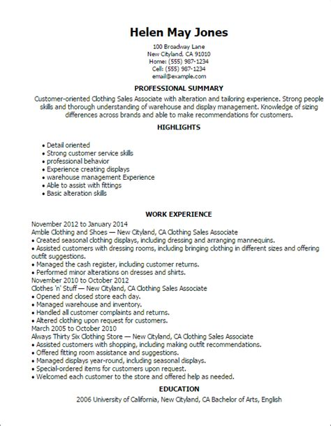 Apparel Sales Cover Letter by 1 Clothing Sales Associate Resume Templates Try Them Now Myperfectresume