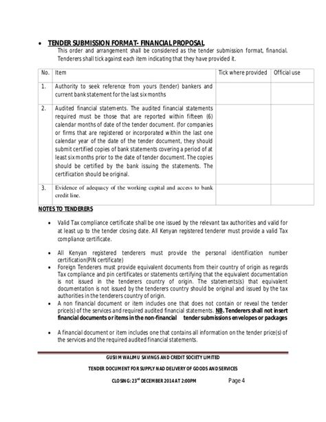 Memo Form Nad Dusek Gusii Mwalimu Sacco 2015 2016 Tenders Supply Of Goods And Services