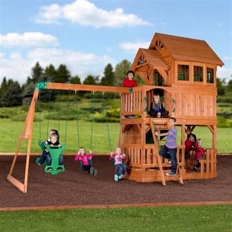 Backyard Discovery 2 N 1 Safety Swing Liberty Ii Wooden Swing Set