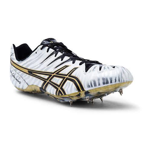 100m running shoes asics japan lite ning 4 mens sprint spikes white gold