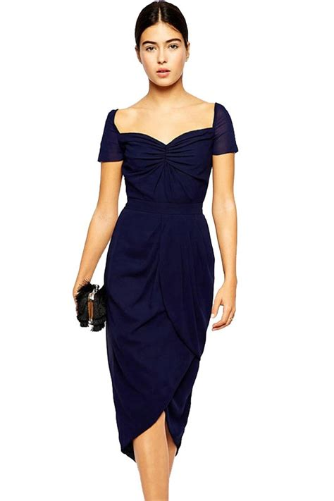 Dress Import Hongkong Midi Dress free shipping blue sweetheart neckline tulip hem midi dress on luulla