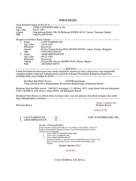 contoh surat kuasa pengurusan sertipikat tanah di bpn