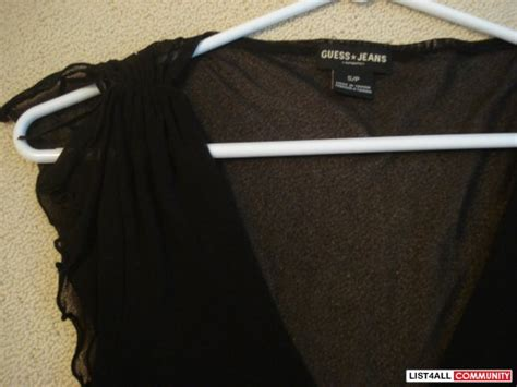 Rushed Sleeve V Neck Top guess black mesh see through rushed top size s