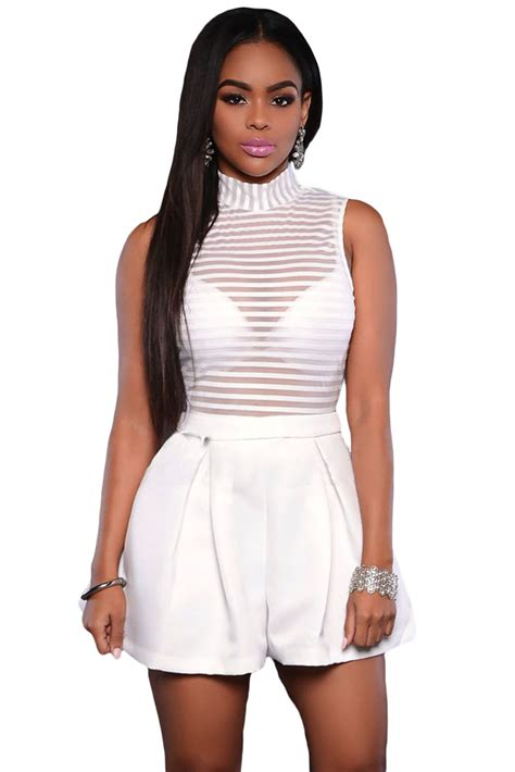 Charming Womens Christmas Clothes #7: White-Sleeveless-Sheer-Stripes-Romper-LC64041-1-16822.jpg