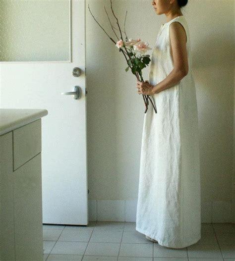 Handmade Dresses Australia - linen wedding dress vanilla white