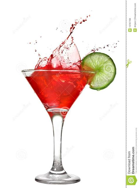 red martini drink red cocktail with splash and lime stock photo image