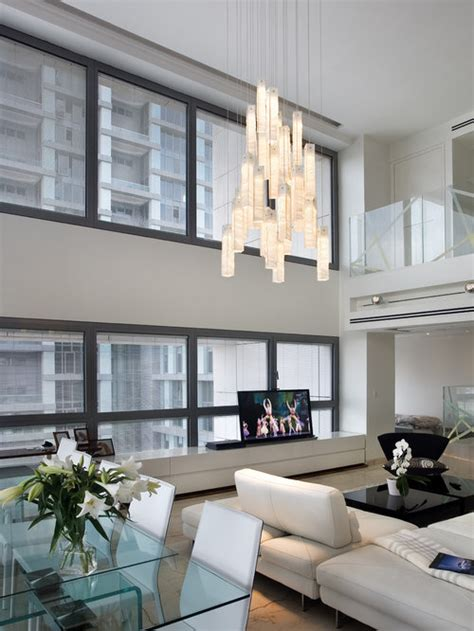 contemporary living room chandelier modern  story