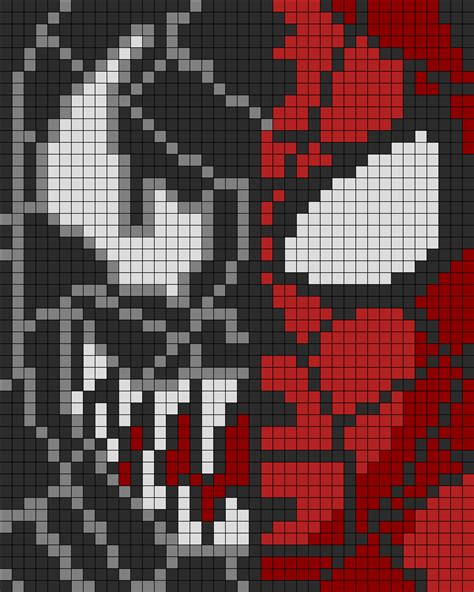 spiderman bead pattern spiderman n venom perler perler bead pattern bead sprite