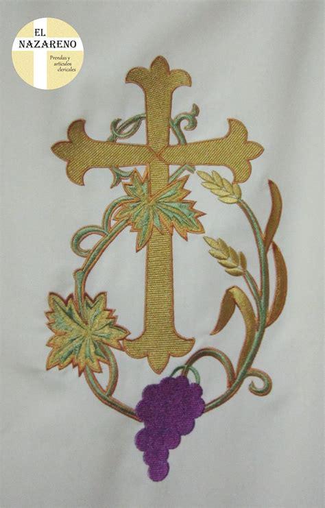 imagenes de uvas con espigas dalm 225 tica crema bordada cruz uvas y espigas 171 el