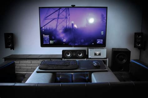 living room pc gaming steiger dynamics completes the living room gaming experience with couchmaster and roccat