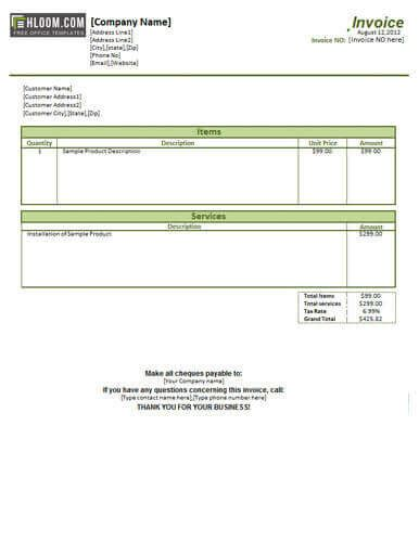 parts and labor invoice template free service bill templates print paper templates