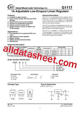 transistor g1084 g1117 datasheet pdf global mixed mode technology inc