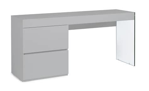 bureau gris laqu bureau moderne laqu 233 gris perle 2 tiroirs cubique