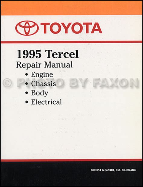 service and repair manuals 1993 toyota tercel electronic toll collection 1995 toyota tercel repair shop manual factory reprint