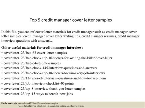Credit Administrator Cover Letter by Top 5 Credit Manager Cover Letter Sles