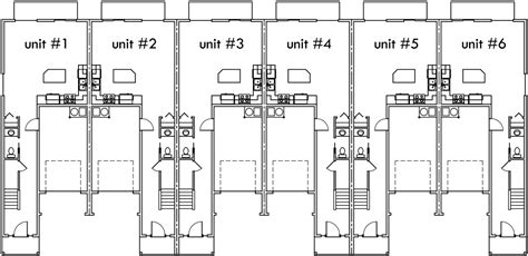 6 plex floor plans 6 plex house plans narrow row house plans six plex s 727