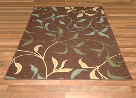 rubber backed rug new leafs chocolate floral design rubber backed non slip area rug