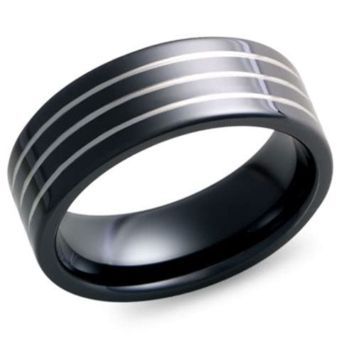 8mm flat black tungsten wedding band with three grooves