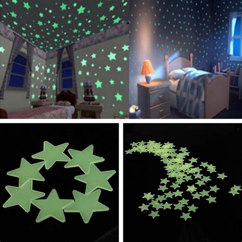 100 glow in the shape stickers for home ceiling