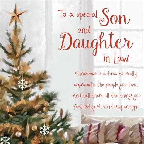 christmas words  warmth son  daughter  law card garlanna greeting cards