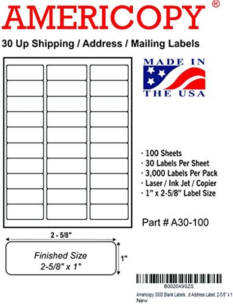 Americopy 3000 Blank Labels Name And Address Label 2 5 8 Quot X 1 524883032137 Toolfanatic Com 1 X 2 5 8 Inch Label Template