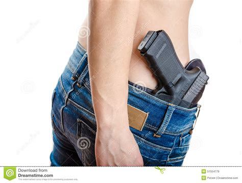 concealed in concealed carry gun in his waistband stock photo image