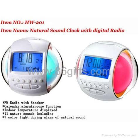 glowing 7 color change nature sound alarm clock radio hw 202 hollyta china manufacturer