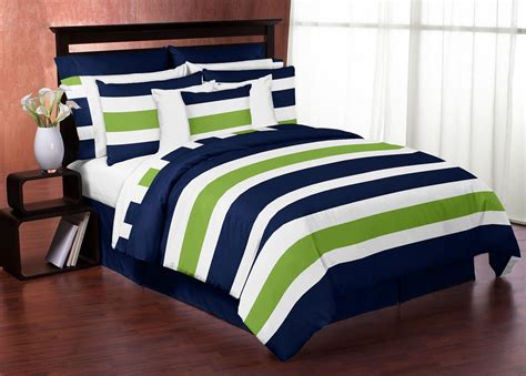 modern white navy and lime green striped bedding in a bag