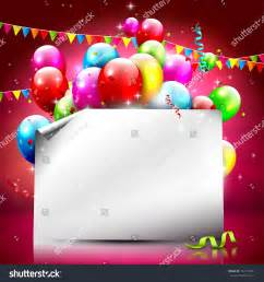 birthday background colorful balloons empty paper stock