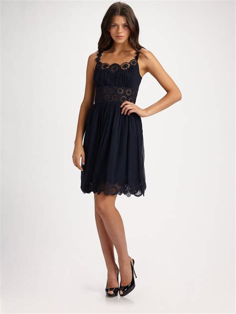 Catherine Dress Navy catherine malandrino embroidered silk dress in blue