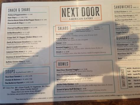 Next Door Menu by The Menu Picture Of Next Door Denver Tripadvisor