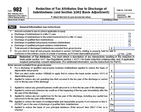 Form 982 Worksheet by Regulus Notes No Fee File Fillable Fo Fum Irs Forms