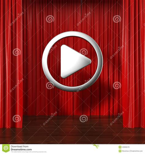 curtains the play red curtains with play button stock illustration image