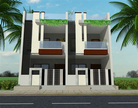 row house ground  floor elevation house