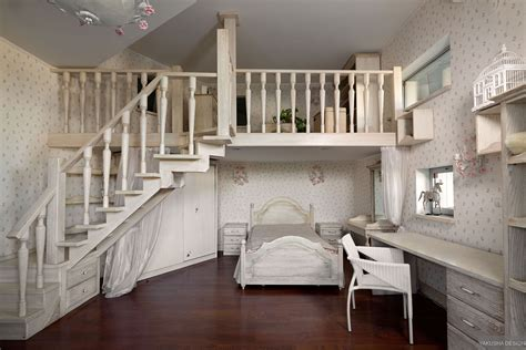 Mezzanine Bedroom Design with Dreamy Floral And White Bedroom With Mezzanine And Homework Space Interior Design Ideas