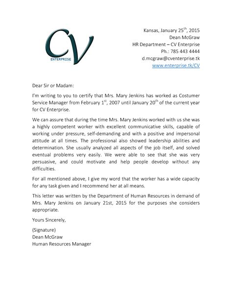 Reference Letter Hr letter of recommendation format sle template