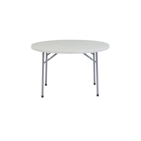 shop national public seating      circle steel speckled grey folding table  lowescom