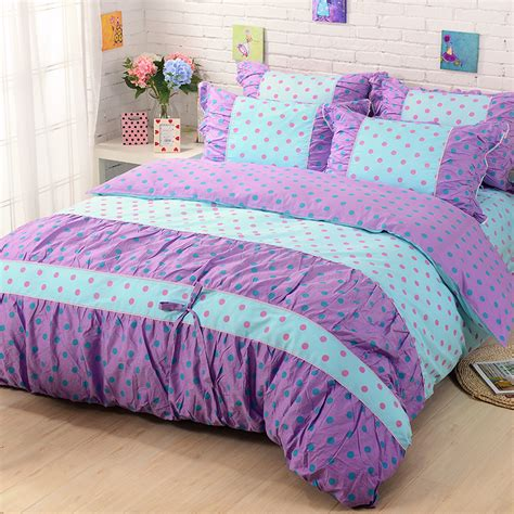 girls queen size bedding new design princess style 100 cotton queen size bed linen set polka dot blue comforter bedding