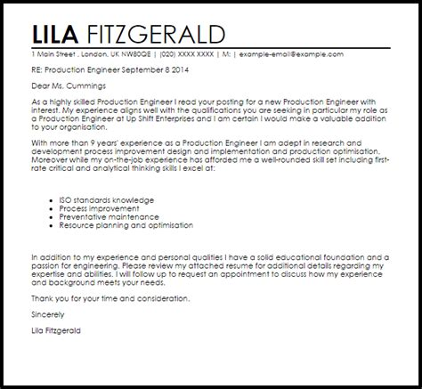 Production Engineer Cover Letter Sample   LiveCareer