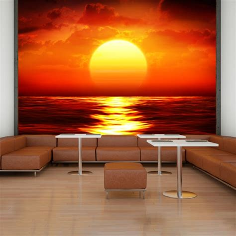 strand wohnzimmer dekor roter sonnenuntergang wandbild ozean seascape tapete