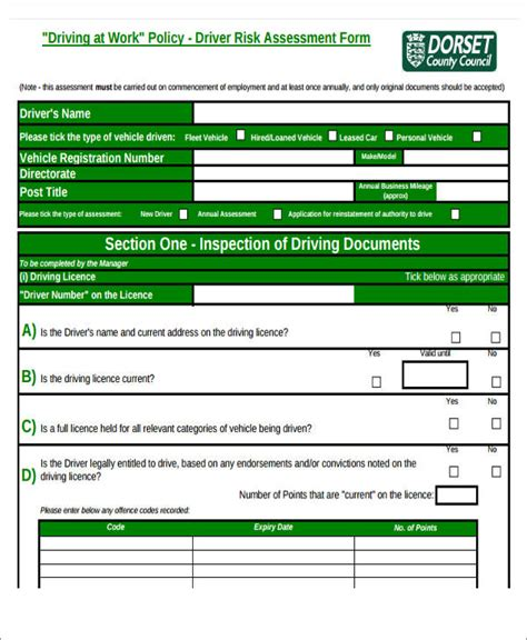 driver assessment form template 39 assessment forms in pdf