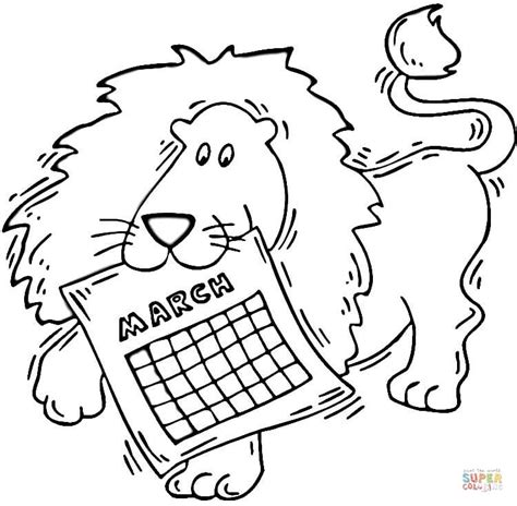 march lion coloring page lion holding a calendar march coloring page free