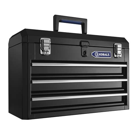 portable plastic tool box with drawers shop kobalt portable 20 67 in 3 drawer black steel