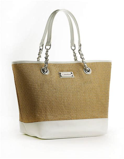 St Tropez Tote by Calvin Klein St Tropez Large Straw Tote In White