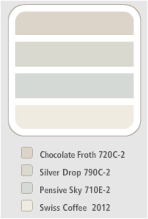 behr colour scheme chocolate froth silver drop pensive sky swiss coffee paint colors