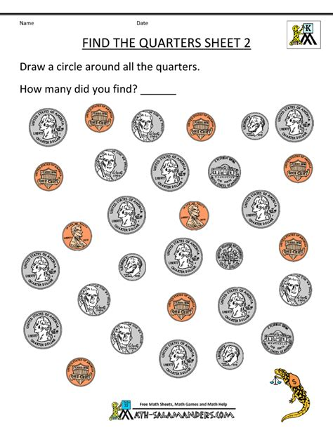 Printable Money Worksheets by Kindergarten Money Worksheets 1st Grade