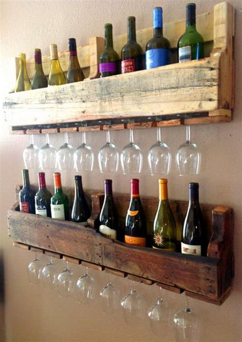 Wine Bottle Rack Diy by Recycled Pallets Ideas Wine Bottle And Wine Glass Holding Wall Rack Made From Wood Pallets