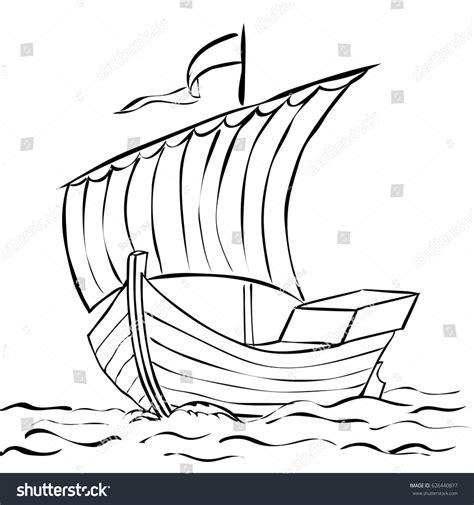 old boat vector vector drawing sketch old sailing boat stock vector