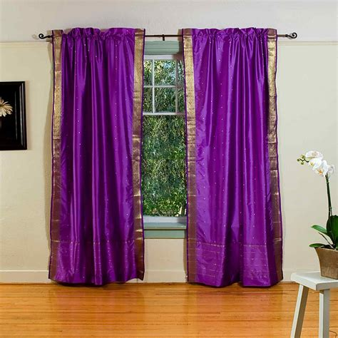 Curtains With Purple In Them Purple Rod Pocket Sheer Sari Curtain Drape Panel Pair Ebay