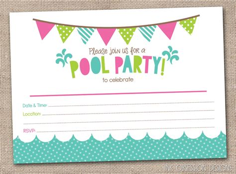 Backyard Birthday Party Ideas free printable pool party birthday invitations backyard